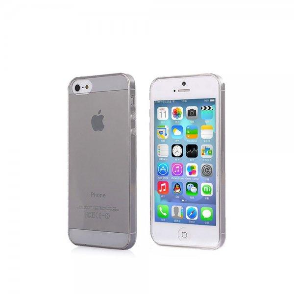 iPhone 5 / 5S Silikon Cover Case Schutz Hülle Tasche Bumper Schwarz transparent + Folie & Poliertuch inkl. Versand nur 2,49€