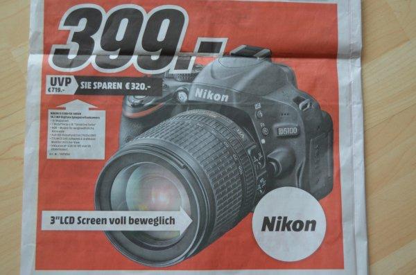 Lokal Mediamarkt Mannheim/Neckarau: Spiegelreflexkamera Nikon D5100 mit Nikkor 18-105 Objektiv Kit