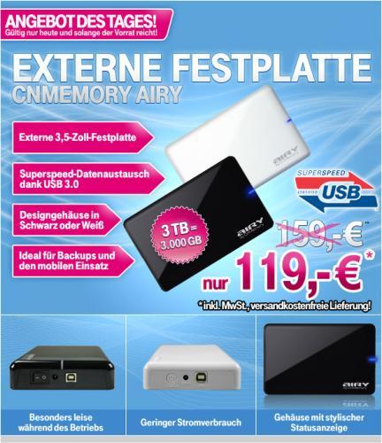 CnMemory Airy 3.0 TB USB 3.0 schwarz oder weiss für 119 €