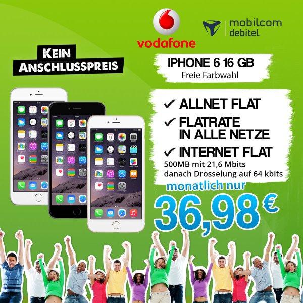 WOW Aktion Apple iPhone 6 mit Vertrag Vodafone Allnet Flat Internet Flat VF 16GB