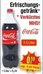 [Lokal NRW/Rheinland Pfalz] Coca Cola 1,5 Liter 0.59 Euro = 0,39 Euro/Liter
