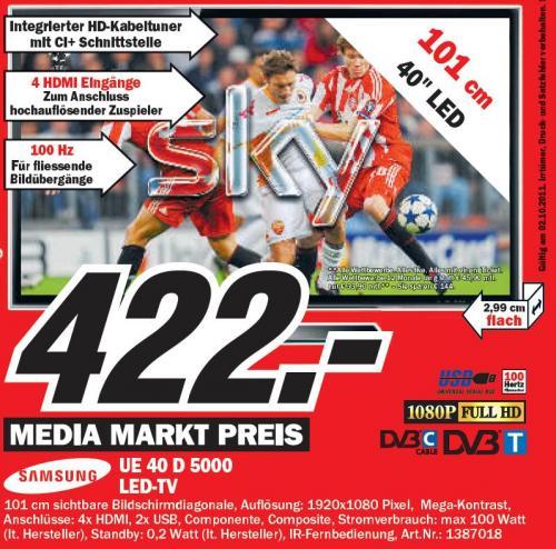 [lokal] @ MM Köln-Marsdorf am 02.10.2011 TV Samsung UE40D5000 für 422 €