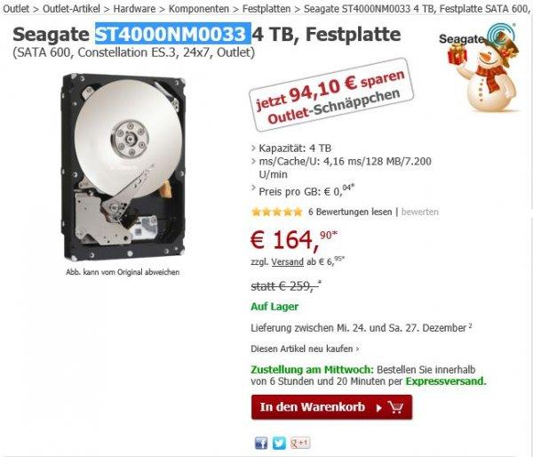 4TB Seagate (ST4000NM0033 - 5 Jahre Garantie) Festplatte im Alternate Outlet Store