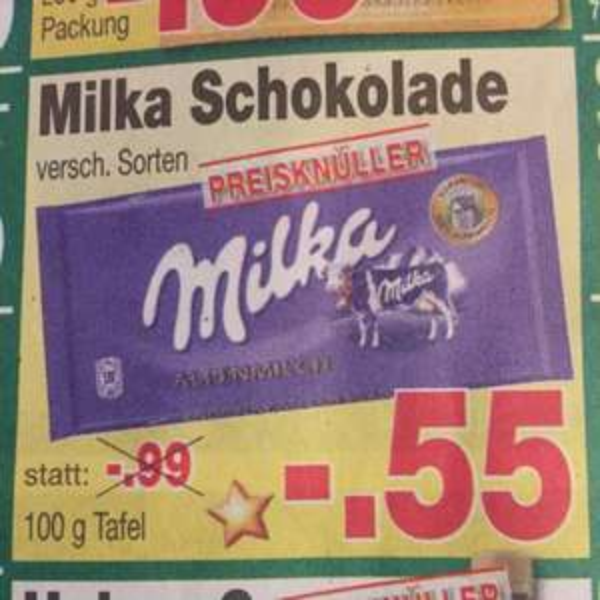 0,55€ Milka 100g ver. Sorten [Kaufpark] bis 27.12.