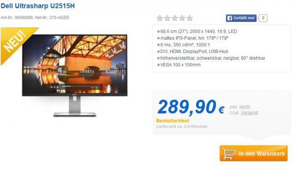 """Dell Ultrasharp U2515H (25"""", 2560x1440) zum Schnäppchenpreis vorbestellen"""