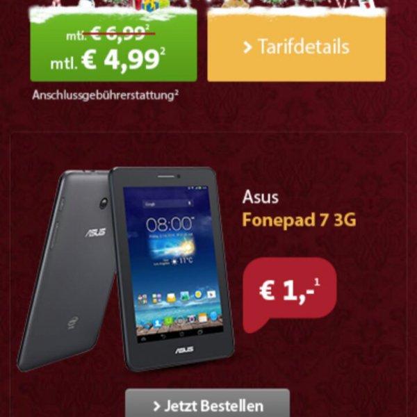 ASUS FONEPAD 7 3G + 500MB Vodafone Internet [SPARHANDY] 4,99 Euro