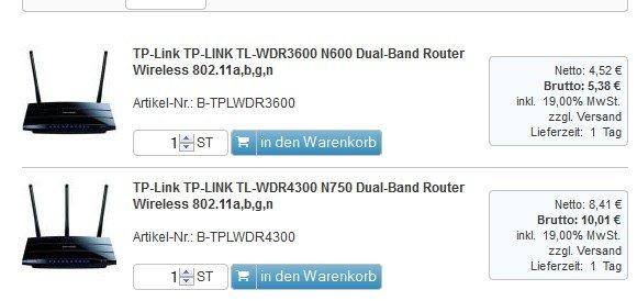 [Preisfehler?] TP-LINK TL-WDR4300 eOfficeShop 10,01€ + 5,90 VSK