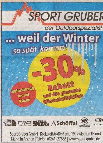 Lokal (Aachen): Bei Sport Gruber 30% auf die gesamte Winterkollektion
