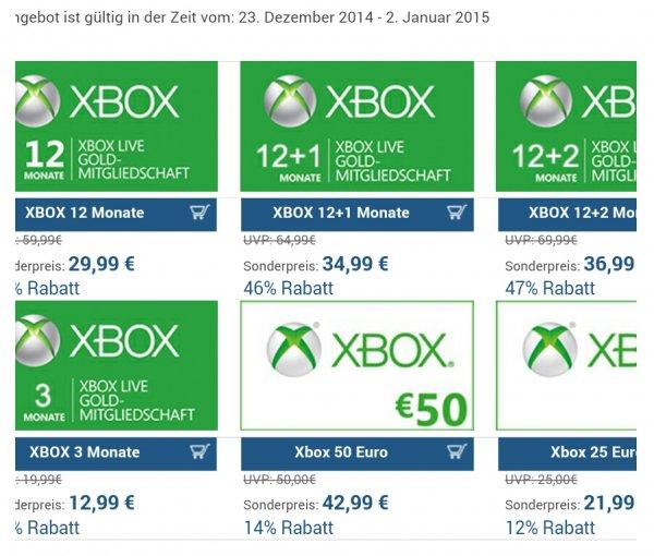 Xbox Gold Mitgliedschaft 12 Monate