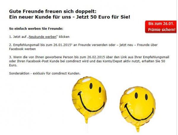 comdirect - doppelte KwK-Prämie in Höhe von 50€