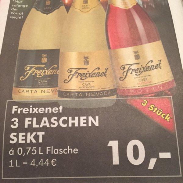 10,00€ Freixenet Sekt 3 x  á 0,75l Flasche [Edeka Velbert] Lokal