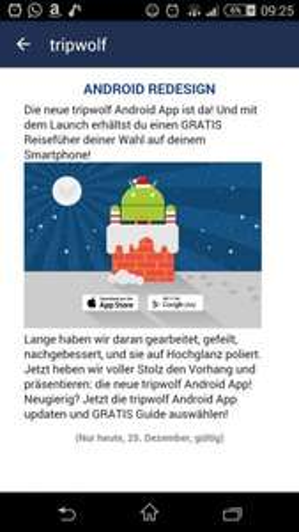 gratis Tripwolf Reiseführer durch App Update (nur am 25.12)