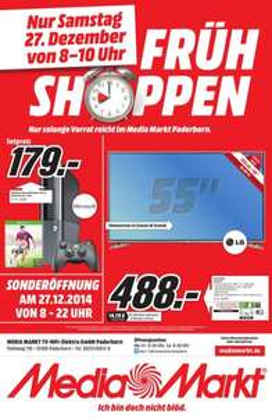 (Lokal - Paderborn - MediaMarkt) Frühshoppen am 27.12.14 3D-LED-TV LG 55 LB 620 für 488.-