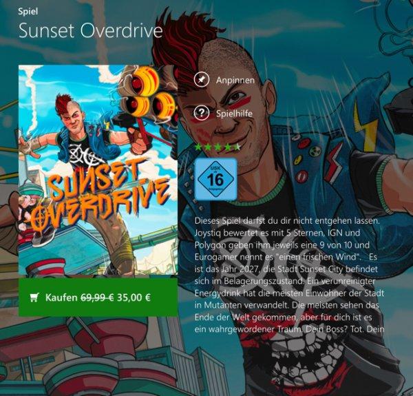 Sunset Overdrive auf Xbox Live nur 35€