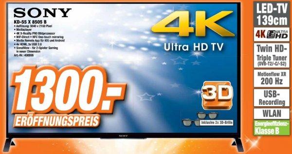 Sony 4K LED-Fernseher KDL-55 X 8505 B  für 1300 Euro