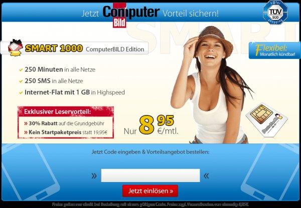 DeutschlandSim 1 GB Internetflat, 250 Minuten und 250 SMS, nur 8,95€/Monat, monatlich kündbar!