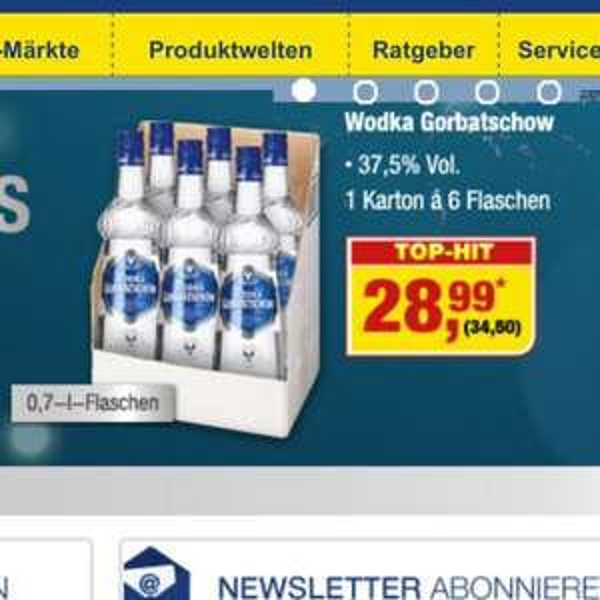 [Metro] Samstagsknüller - 6x Wodka Gorbatschow 34,50€ (5,75€ pro Flasche) je Kiste (36% günstiger)