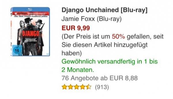 Django Unchained [Blu-ray] @amazon.de 9.99
