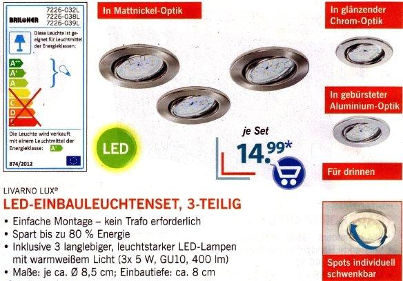 Lidl: LED -Einbauleuchten-Set, 3 x 400 Lumen, für nur 14,99 Euro