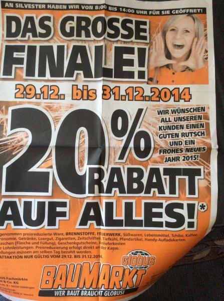 20% auf alles Globus Baumarkt Lahnstein