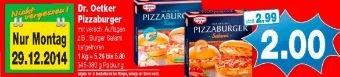 Dr. Oetkers Pizzaburger für 1,50€ (nur am 29.12.2014)