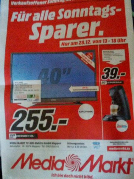 "GRUNDIG VLE 555 BG 40"" LED 40"" FullHDTV 255€  und Seneso 2HD 7810 für 39€[Lokal MediaMarkt Meppen]"