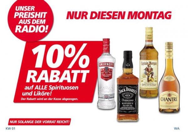 [Real Bayreuth] 10% auf alle Spirituosen und Liköre (z.B Absolut Vodka 1.5l)