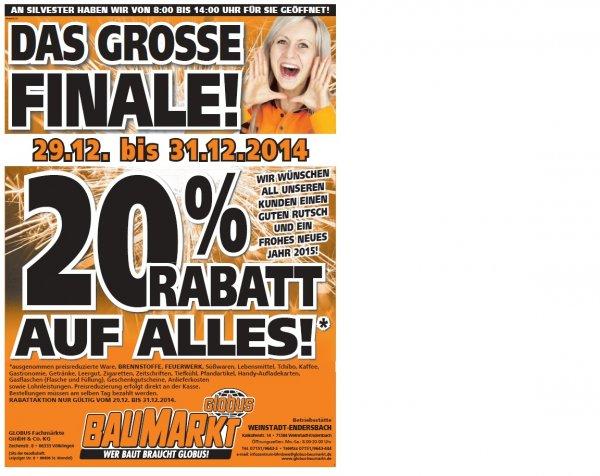 20% Rabatt auf Alles - Globus Baumarkt 71384 Weinstadt