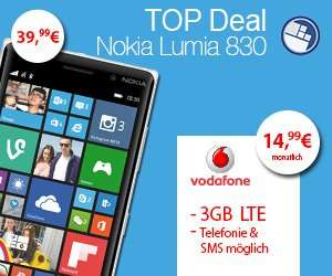 Vodafone 3GB LTE (14,95€/mtl.) mit Lumia 830 (39,99€) WindowsUnited Deal bei handyflash.de