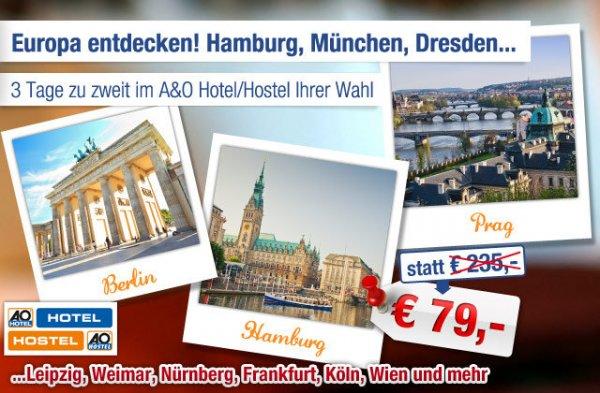 (Ab-in-den-Urlaub-Deals ) A&O TO GO Hotelgutschein ab effektiv 64€ für Neukunden! (2 Personen, 2 Übernachtungen und All u can eat Frühstücksbuffet)