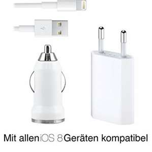 Original iProtect® 3 in 1 KFZ Set mit USB Ladekabel / Datenkabel + Netzteil / Charger + KFZ Autoladegerät / Adapter Zubehör Set für Apple iPhone 6, iPhone 5 G 5s 5c, iPod Touch 5G, iPod Nano 7G, iPad mini 1+2, iPad 4, iPad Air, iPad Air 2 in weiß