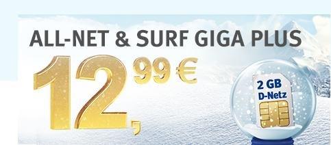 1&1 : 300 Frei-Einheiten und 2GB Internet mit 21,6 MBit/s, D2-Netz 12,99€ mtl. + 9,60 AG