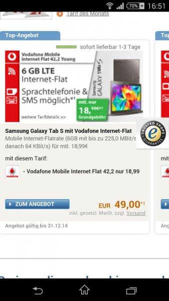 samsung tab s 10.5 mit 6GB Vodafone 510,-