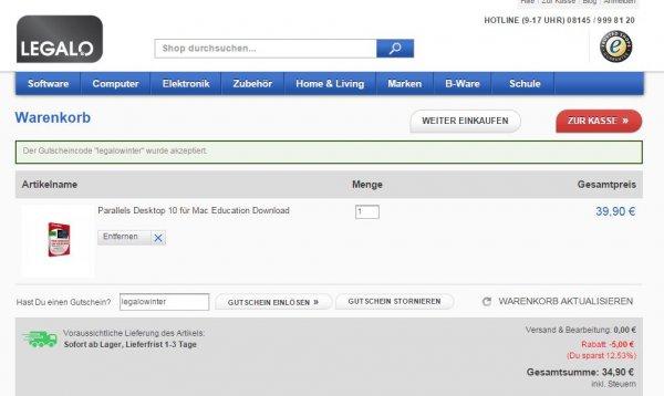EDU: Parallels Desktop für 34,90 bei legalo.eu