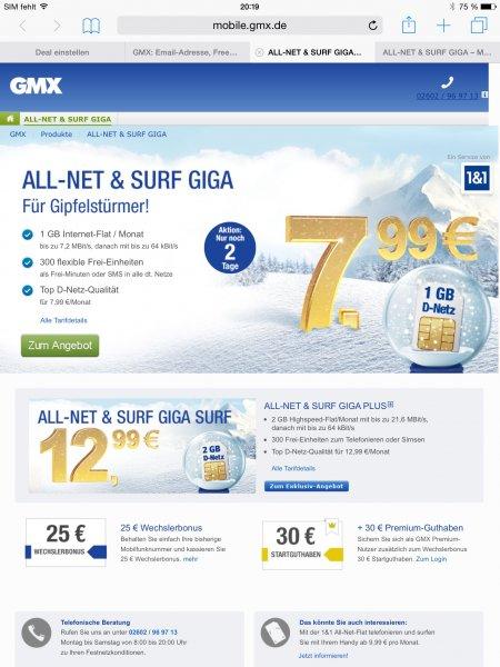 Surfflat inkl 300 Freiminuten in deutsches Netz 1GB/7.99€ und 2GB/12.99€ ! D-Netz 1&1