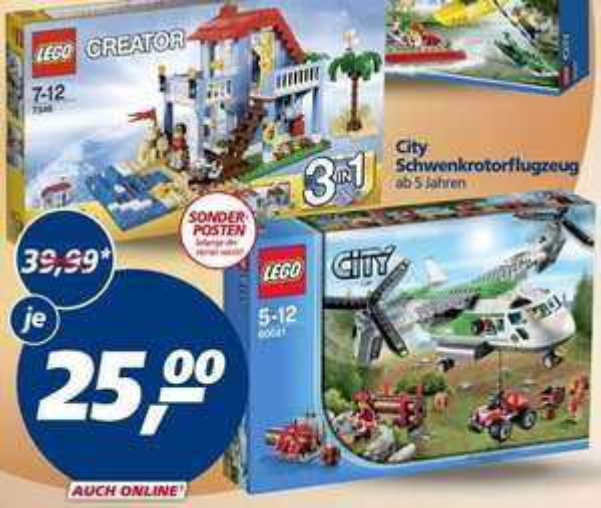 [REAL] KW02: LEGO Creator 7346 - Strandhaus // LEGO City 60021 Schwenkrotorflugzeug für 22,50€ + PB-Punkte (05.01.-10.01.15)