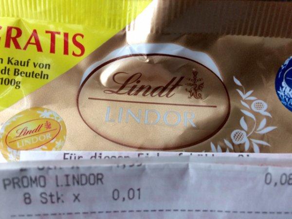 Lindt Lindor 1 Cent im REWE / gratis Packung