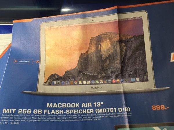"""Macbook Air 13"""" 256 GB MD761D/B für 899€"""