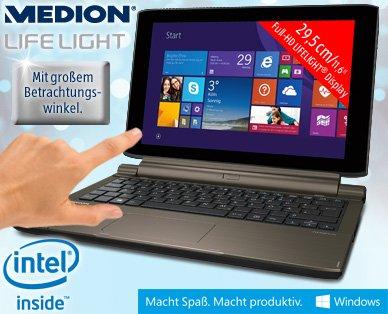 "[ALDI Süd seit 29.12.] 11,6"" Notebook & Tablet Kombi - Medion Akoya P2214T MD 99480 mit Multitouch-FullHD-Display, HDMI, Windows 8.1, 4 GB RAM 64GB SSD 500 GB HDD, MS Office 365 für 399 €"