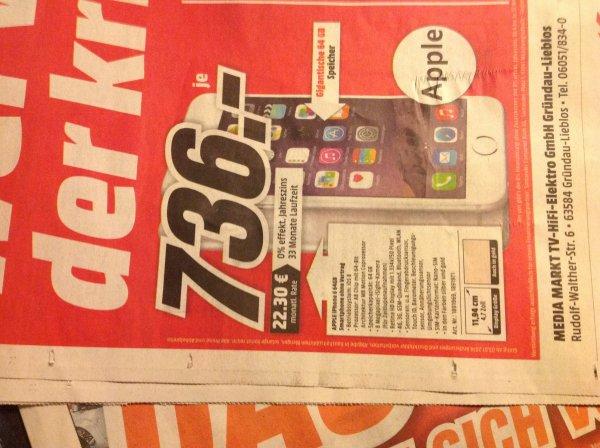 [lokal Gründau] iPhone 6 64GB in Silber oder Gold für 736€
