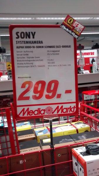 Lokal Media-Markt Stuttgart City Sony Alpha 5000 inkl.  16 55mm Kit für 299€