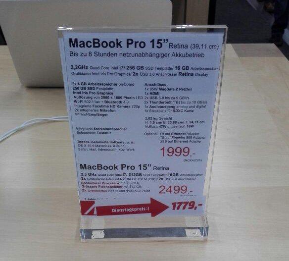 "MM NWZ Ffm: MacBook Pro Retina 15"" MGXC2D/A statt 2499,-€ (evtl. LOKAL)"