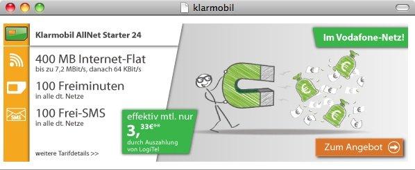 Klarmobil AllNet Starter24 D2 Netz für effektiv 3,33 EUR im Monat - für registrierte logitel Kunden