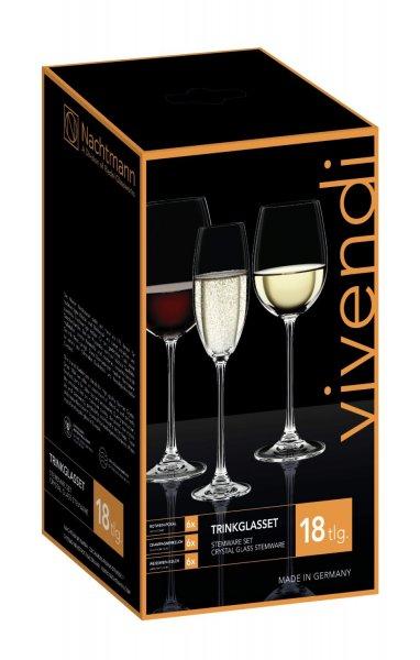 Nachtmann Gläserset Vivendi: Rotweinglas, Weißweinkelch, Champagner/Prosecco, 18er-Set (23% oder 57% sparen!)