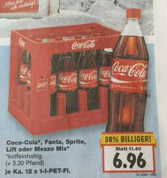 [Kaufland] [lokal zu 99%  bundesweit] [KW02]Coca-Cola, Fanta, Sprite, Lift oder Mezzo Mix  12x 1l 6,96€ + 3,30€ Pfand