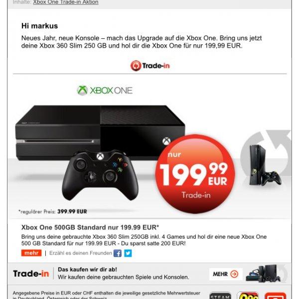 Xbox one für 200€ Gamestop Trade in
