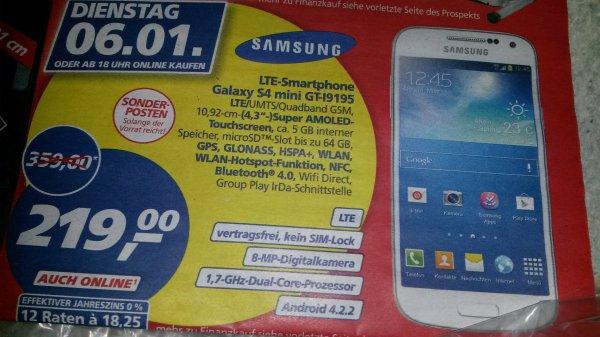 S4 Mini LTE 219 Euro!