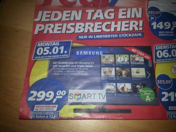 Real Offline und Online Samsung UE40h5273 mit Smart TV ab Montag 05.01.2015