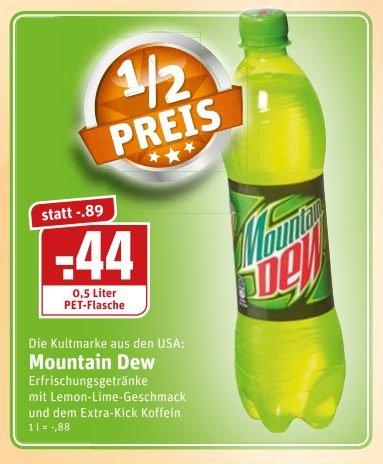 [Rewe Ruhrgebiet, Sauerland, Münsterland] Mountain Dew 0,5 Liter zum halben Preis für 0,44€ (Normalpreis 0,89€)