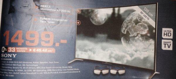 [Saturn Aachen] Sony KD-55X8505B 55 Zoll Ultra HD 3D TV inkl. 2 Shutter Brillen (Idealo 1699€)